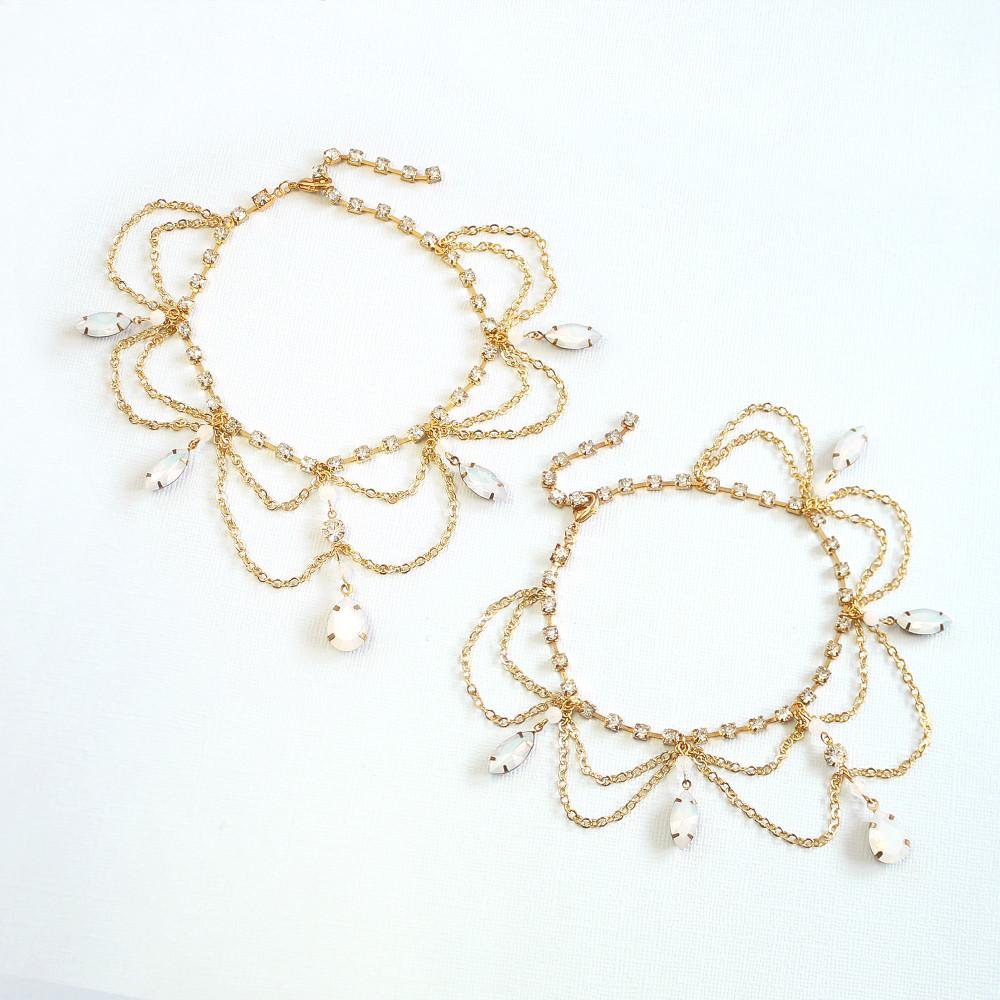 Gold Tallulah Bridal Anklets on grey
