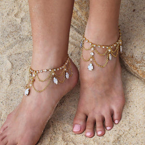 Gold Tallulah Bridal Anklets from front