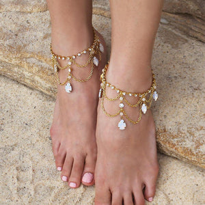 Gold Tallulah Bridal Anklets from top