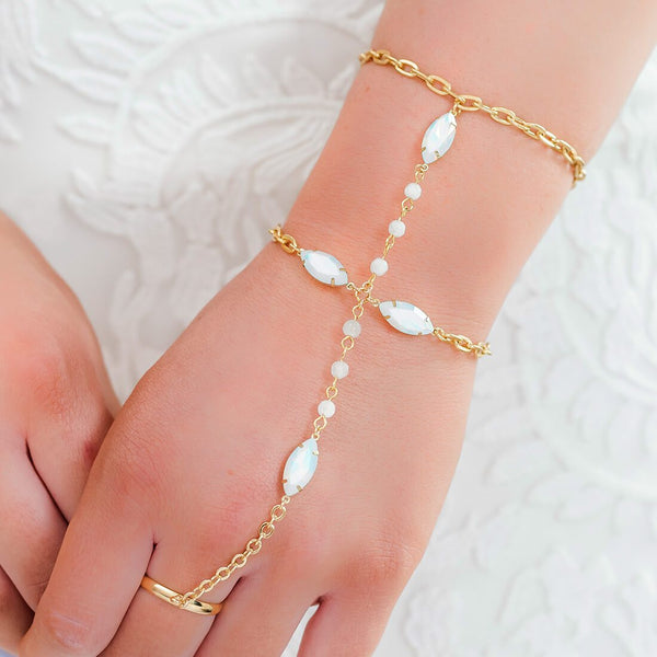 Gold Tallulah White Opal Hand Chain Bracelet from front