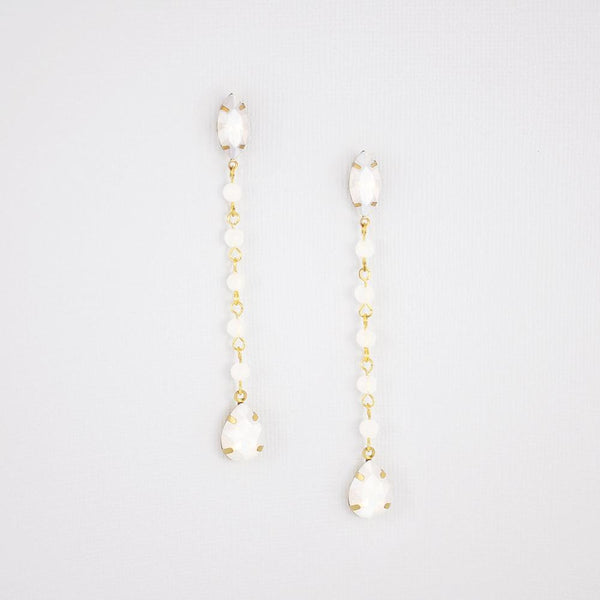Gold Tallulah White Opal Earrings on grey