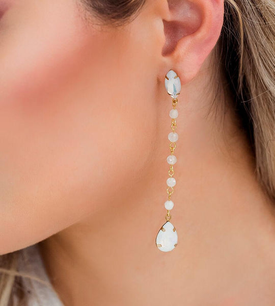 Gold Tallulah White Opal Earrings from side