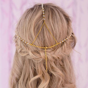Gold Tallulah Bohemian Bridal Headpiece from back