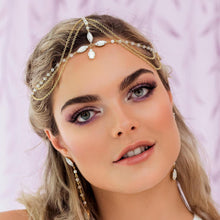 Load image into Gallery viewer, Gold Tallulah Bohemian Bridal Headpiece from front