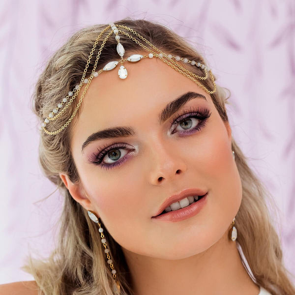 Gold Tallulah Bohemian Bridal Headpiece from front