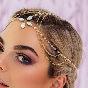Gold Tallulah Bohemian Bridal Headpiece from side