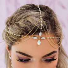 Load image into Gallery viewer, Gold Tallulah Bohemian Bridal Headpiece from top