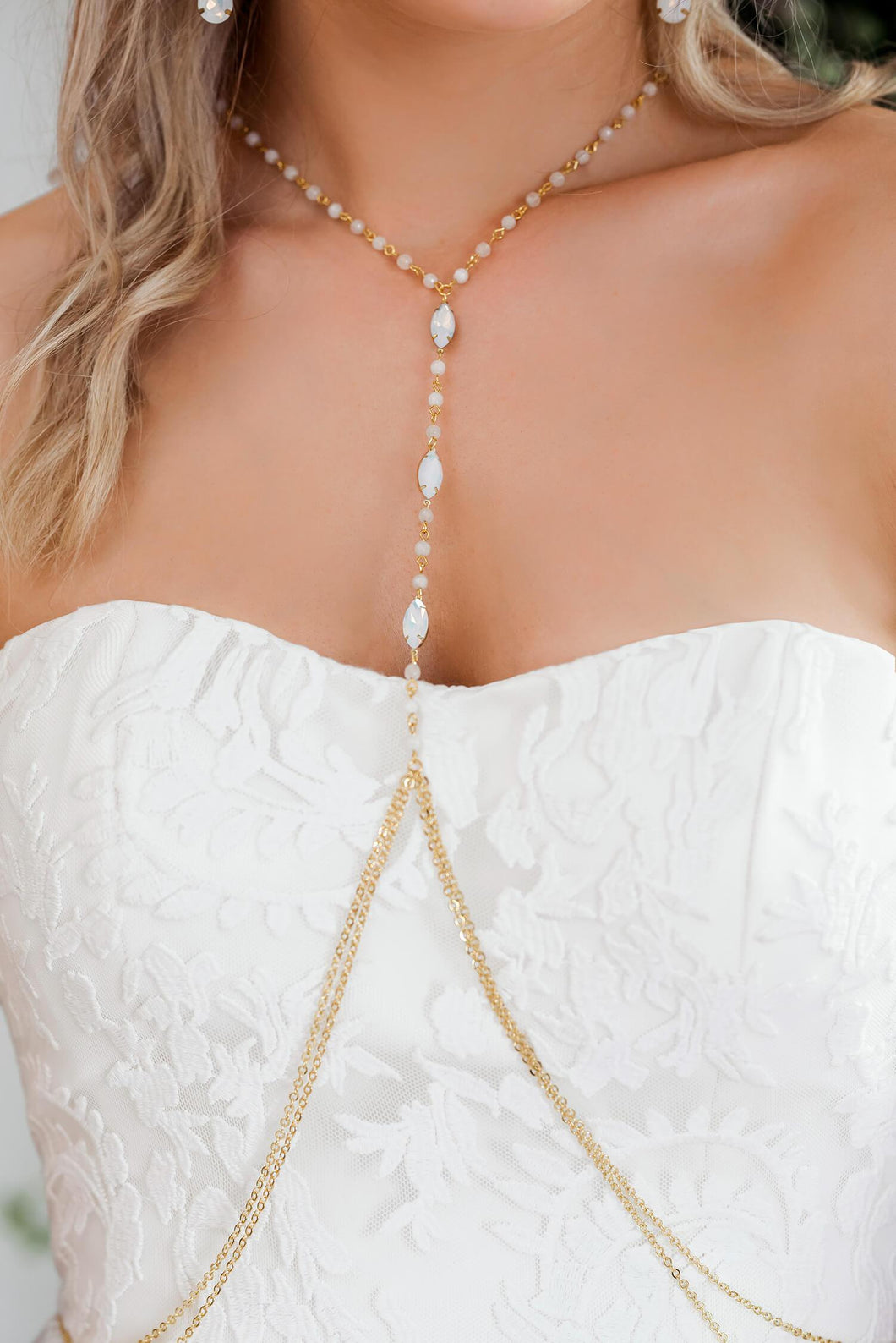 Gold Tallulah Body Chain Harness Necklace from side