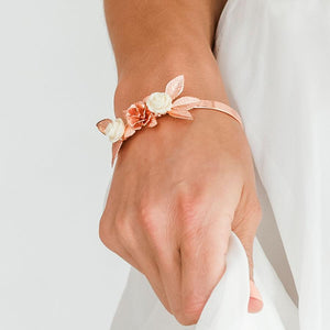 Rose gold Thea Delicate Rose Bridal Bracelet from front