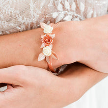 Load image into Gallery viewer, Rose gold Thea Delicate Rose Bridal Bracelet from top