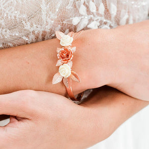 Rose gold Thea Delicate Rose Bridal Bracelet from top