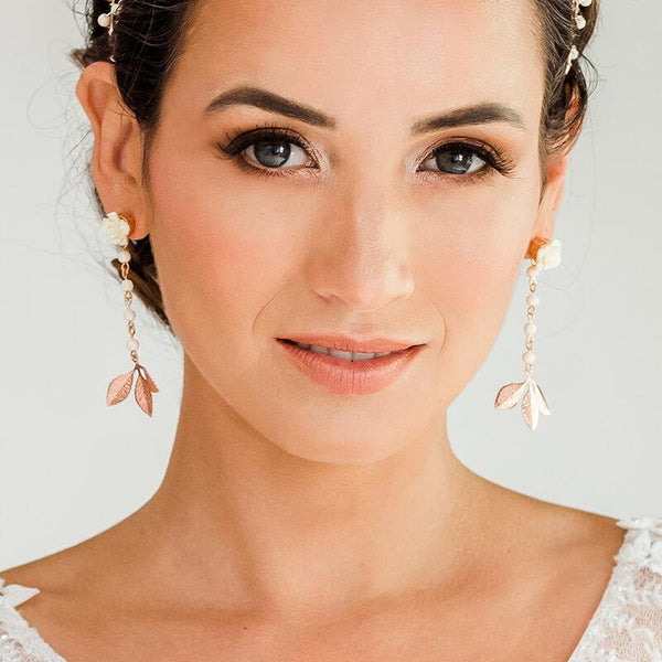 Rose gold Thea Leaf Earrings from front