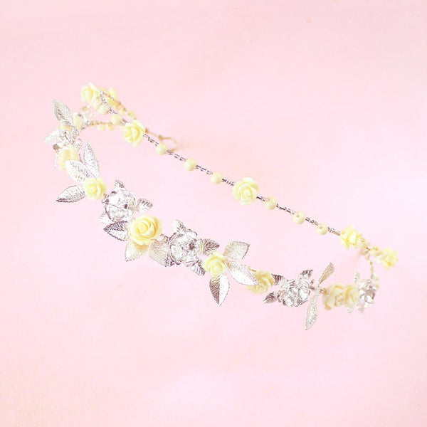Silver Thea Delicate Rose Double Headband in pink