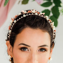 Load image into Gallery viewer, Rose gold Thea Delicate Rose Double Headband from front