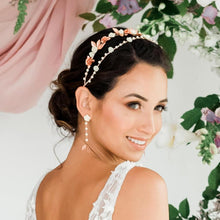 Load image into Gallery viewer, Rose gold Thea Delicate Rose Double Headband from side