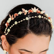 Load image into Gallery viewer, Rose gold Thea Delicate Rose Double Headband from top