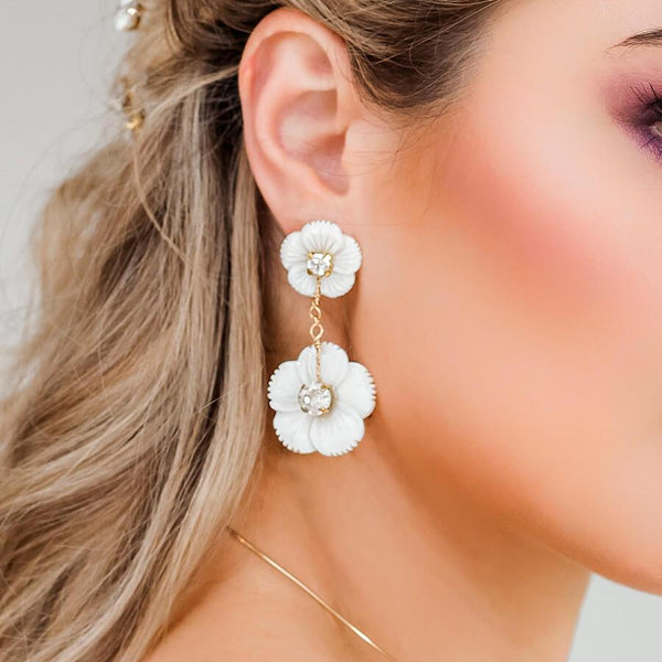 Gold Wanika Tropical Flower Bridal Earrings from side
