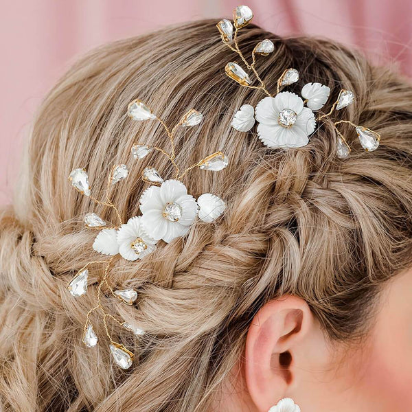 Gold Wanika Tropical Flower Bridal Hair Combs from back