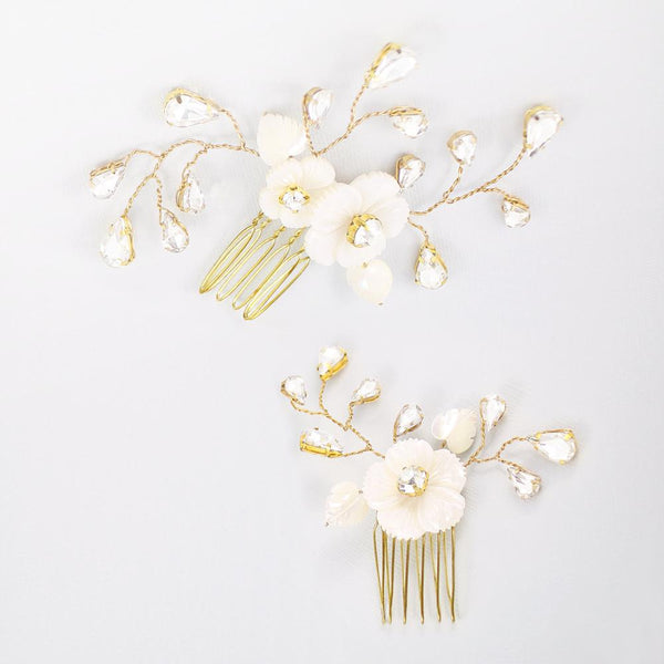 Gold Wanika Tropical Flower Bridal Hair Combs on grey