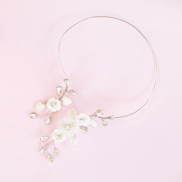 Silver Wanika Floral Open Collar Necklace on pink