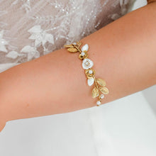 Load image into Gallery viewer, Gold Willa Flower Bridal Bracelet from side