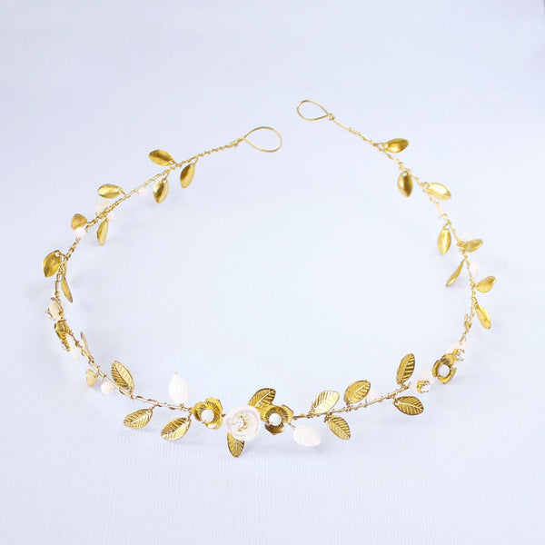 Gold Willa Vine Bridal Headpiece on grey