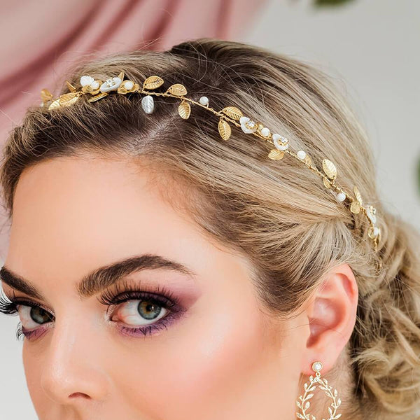 Gold Willa Vine Bridal Headpiece from front
