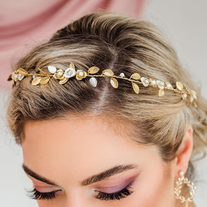 Gold Willa Vine Bridal Headpiece from top