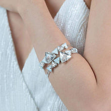 Load image into Gallery viewer, Silver Zendaya Crystal Bangle stacked on arm