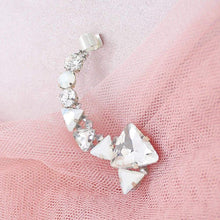 Load image into Gallery viewer, Silver Zendaya Crystal Ear Climber on pink