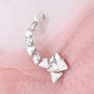 Silver Zendaya Crystal Ear Climber on pink