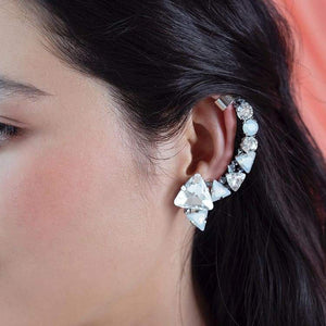 Silver Zendaya Crystal Ear Climber on left ear