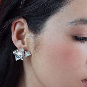 Silver Zendaya Geometric Crystal Earrings on right ear