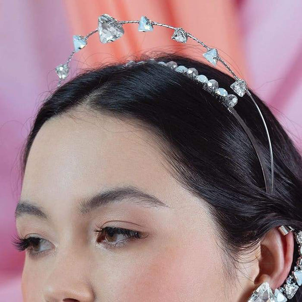 Silver Zendaya Crystal Headband from front
