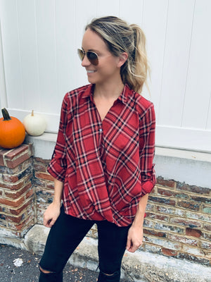 HARVEST PLAID TOP - RED