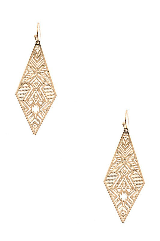 DIAMOND SHAPE CUT OUT EARRING