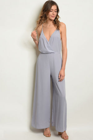 Grey, sleeveless V-neck, smock waist, and wide leg jumpsuit.