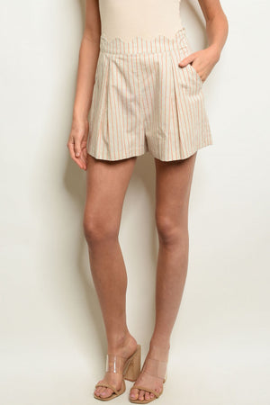 TO AND FRO CREAM STRIPED SHORTS