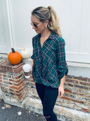HARVEST PLAID TOP - GREEN