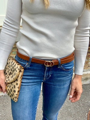 DOUBLE RING BELT - TAN