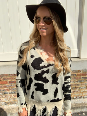 DISTRESSED LEOPARD SWEATER