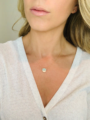 MINT MARBLE HALF TONE NECKLACE