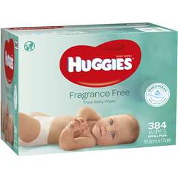 Huggies Fragrance Free Thick Baby 384 Wipes Refill Pack 19.5cm x 17cm