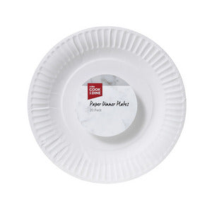 Cook & Dine White Dinner Plates 20 pack (22.5cm diameter)