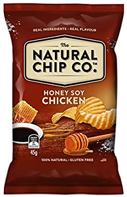 BOX (18) The Natural Chip Co Honey Soy Chicken Chips 45g