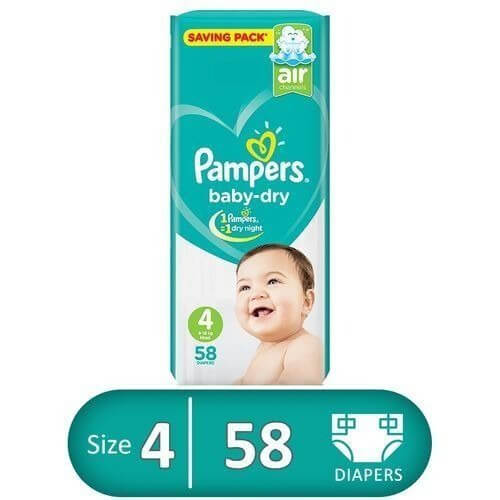 Pampers Baby Dry Size 4 (Pack of 58) 9-14kg