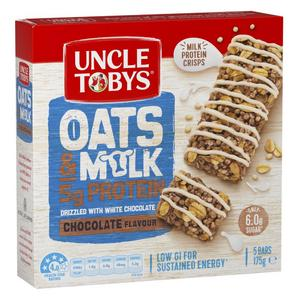 Uncle Tobys Muesli Bar Oats & Milk Chocolate Flavour drizzled with White Chocolate 175g (5 bars)