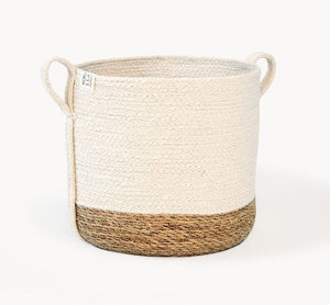 Eco-friendly Ethically Handmade  Organic Fair Trade Sustainable Savar Jute Basket With Side Handles