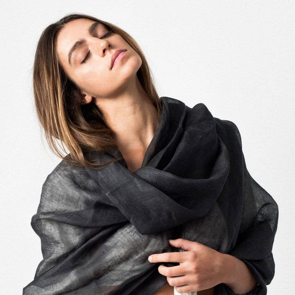 Ethically Handmade Eco-friendly Sustainable Charcoal Linen Scarf