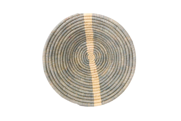 Large Opal Gray Striped Round Basket